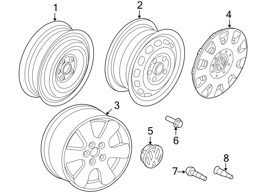 Diagram WHEELS. for your 1999 Volkswagen Golf